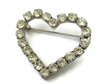 Rhinestone heart brooch, rhinestone brooch, diamante heart brooch, rhinestone brooch, heart jewelry, rhinestone jewelry