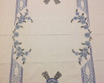 FREE SHIPPING--Dutch windmills tablecloth--cotton with eyelet lace trim