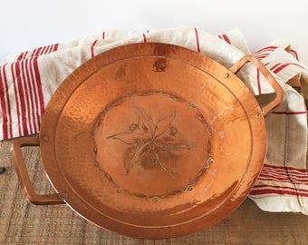 Vintage Hammered Copper Dish - Kitchenalia - country kitchen - bohemian home decor - Weeda Tasmania Australia - bowl engraved #0380