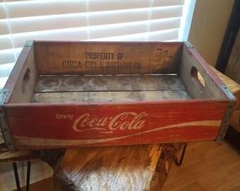 Vintage Coca Cola Red wooden soda crate