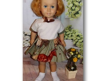 "For the love of horses.  Farm Girl. Chatty Cathy sized Clothes. Top & Skirt for dolls the size of 20"" tall vintage Chatty Cathy dolls."