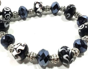 Lampwork Beads, Lampwork Bracelet, Lampwork Glass Beads Handmade, Beaded Bracelet Jewelry, Personalized Adjustable Friendship Bracelet