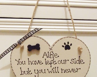 Handmade Personalised Dog Memorial Keepsake Hanging Plaque Sign Remembrance Heart Pet loss Any Name Shabby Chic Home Gift