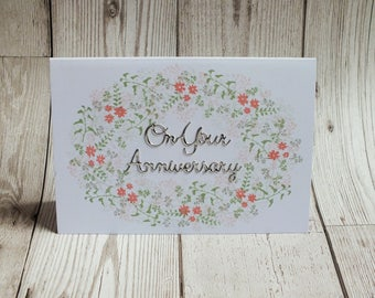 On Your Anniversary Floral Hand Stamped Card - Greetings Card, Anniversary