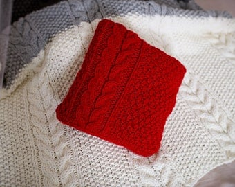 Red Cable Knit Pillow Cover, Sweater Knit Cushion Cover, Red Chunky Knitted Pillow Case