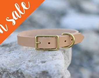 Scandinavian tan leather dog collar, handmade of natural veg tanned leather