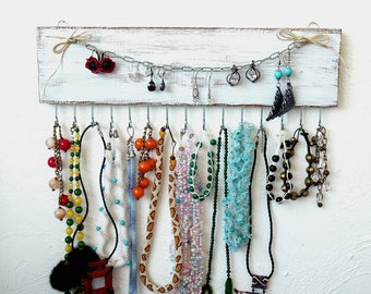 Wall necklace holder handmade, jewelry organizer wall