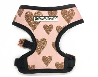 Pawsitivity Reversible Dog Harness - Glitter Hearts & Magical Mermaid - Pink Dog Harness - Valentines Day Dog Fashion - Heart Dog Collar