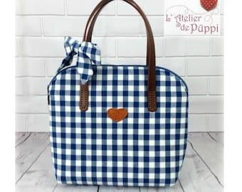 Handle bag - DOTTI - cotton - blue/white gingham
