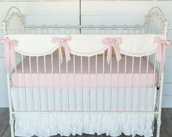 Cream with Pink Linen Baby Bedding Set