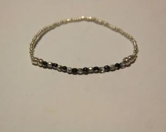 Gray, Black, and Silver Beaded Bracelet
