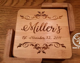 Personalized Coasters Wedding Engraved, Wood Coasters, Custom Coasters, Engraved Coasters, Wedding Gift Coasters, Coasters Wedding