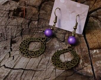 Purple basket of flowers, miracle bead earrings