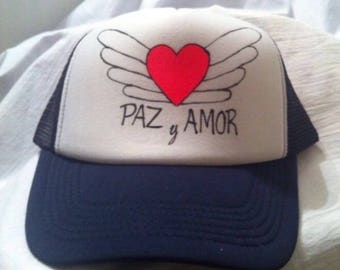 Paz y Amor Painted Hat