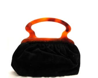 1960s Black Suede Bag