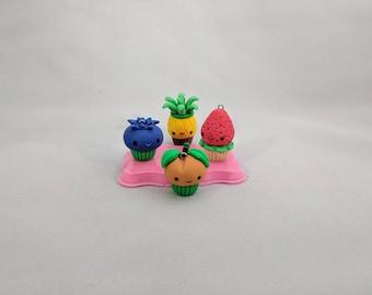 Kawaii Fruit Charms, Polymer Clay Cupcake Charms, Cute Fruit Charms, Kawaii Strawberry, Cute Blueberry, Cute Pineapple Charm, Peach Charm