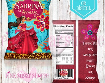Elena of Avalor Favor Bags - Custom Chip Bags - Elena of Avalor Birthday Party - Elena of Avalor- Digital - Printable - Printed - Chip Bags