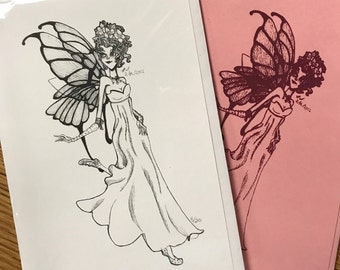 Pink Faerie Original Artwork Cards