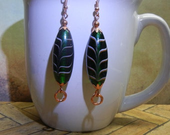 Solid Copper And Green Glass Bead Earrings Handcrafted