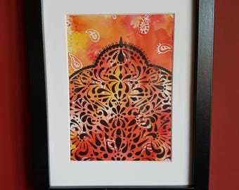 Eastern Silhouette Pattern- Ink and Watercolour Original Artwork