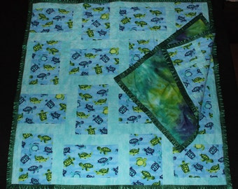 Sea Turtles, Baby Quilt, Baby Blanket, Tag-along, Quilt, Patchwork Quilt, Throw, Lovie, Turtles