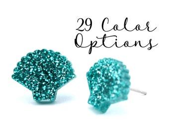 "1 Pair Blank Sea Shell Post Earrings, 12mm 1/2"" 16mm Glitter, Pearl, Mirror, Monogram Blank, Blank Acrylic Earrings, Acrylic Earring Blanks"