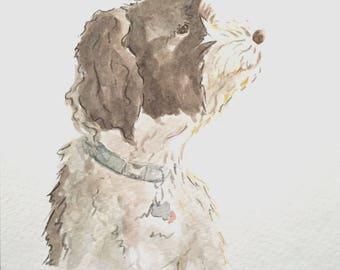 Detailed Custom Original Watercolor Illustrated Pet Dog Portraits: Detailed