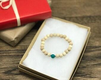 Wood Bead Bracelet | Sea Blue Bracelet, Boho Bracelet, Beaded Bracelet, Wooden Bead Bracelet | Wood Bracelet Design For Less