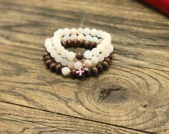 Breast Cancer Survivor Bracelets, Set of 3 Stack Bracelets, Breast Cancer Bracelets, Pink Aventurine Survivor Bracelets, Bracelets Set