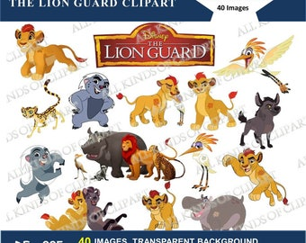 40 Disney's THE LION GUARD Cliparts, Iron Transfers, Stickers, Decals  40 Png file Formats, Transparent Background