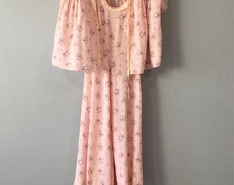 1940s Vintage Pink Bouquet Floral Nightgown & Jacket,Lace Ribbon Trim, Rayon, Honeymoon Wedding Bridal Lingerie, Romantic Sleepwear Size S