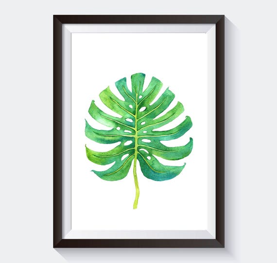 Watercolor Green Plants Monstera Nature Posters And Prints: Monstera Leaf Print Botanical Print Nature Print Monstera