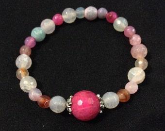Multi color Agate stretchy beaded bracelet