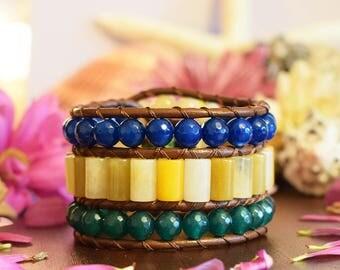 Cuff Bracelet, Leather Bracelet, Leather Wrap Bracelet, Triple Row Bracelet, Beaded Bracelet, Leather Jewelry, Boho Bracelet, One Of a Kind