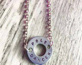 Hand Stamped Chrome 'Pole Dancer' Circlet Necklace