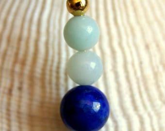 minimalist pendant natural lapis lazuli and amazonite gemstones beads