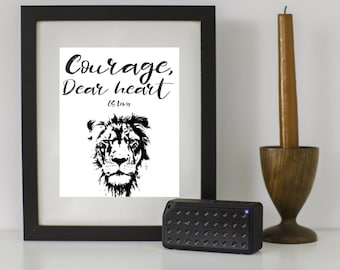 Courage Dear Heart Aslan Quote Motivational Encouragement Printable Narnia Gift CS Lewis
