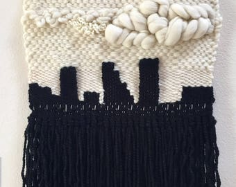 Cityscape -- Woven Fiber Art -- White and Black