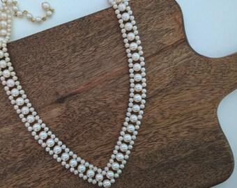 Faux pearl handmade v-shape bead necklace, collar bib necklace, bridal weddingwearable vintage costume jewelry