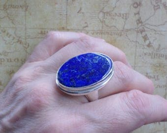 RING 925 sterling silver and LAPIS Lazuli (BA6)