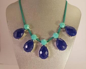Teal & Cobalt Blue Statement Necklace