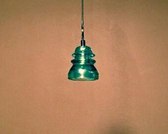 Whitall Tatum Co. Repurposed Aqua Glass Insulator Pendant Light