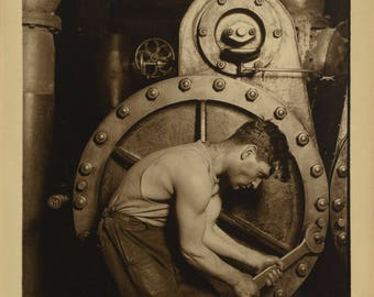 """""""Steamfitter"""" Lewis Wickes Hine A3 picture."""