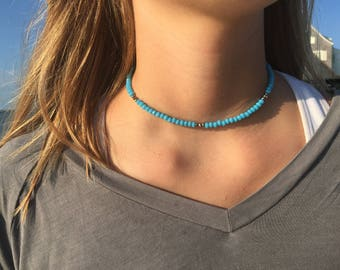 Beaded Choker with Silver Accents