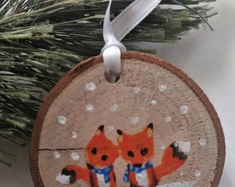Hand Painted Wood Cut Ornaments - Animals in Love