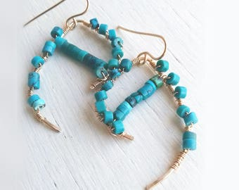 Earrings natural turquoise and gold filled 14 K dangle earring turquoise gift her - Christin Piedra