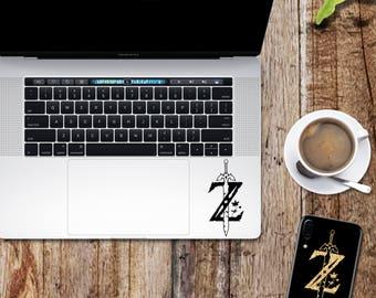 Zelda decal; Z sword symbol glitter sticker for laptop, macbook, car, notebook, tablet, phone, mac