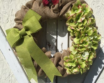 Burlap wreath, Green Hydrangea Wreath, Summer Wreath, Spring Wreath, Front Door Wreath, Floral Wreath