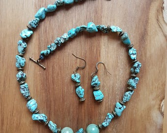 Raw turquoise nugget necklace and earring set