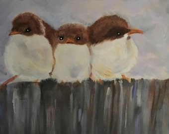 Three Little Birdies Acrylic Painting